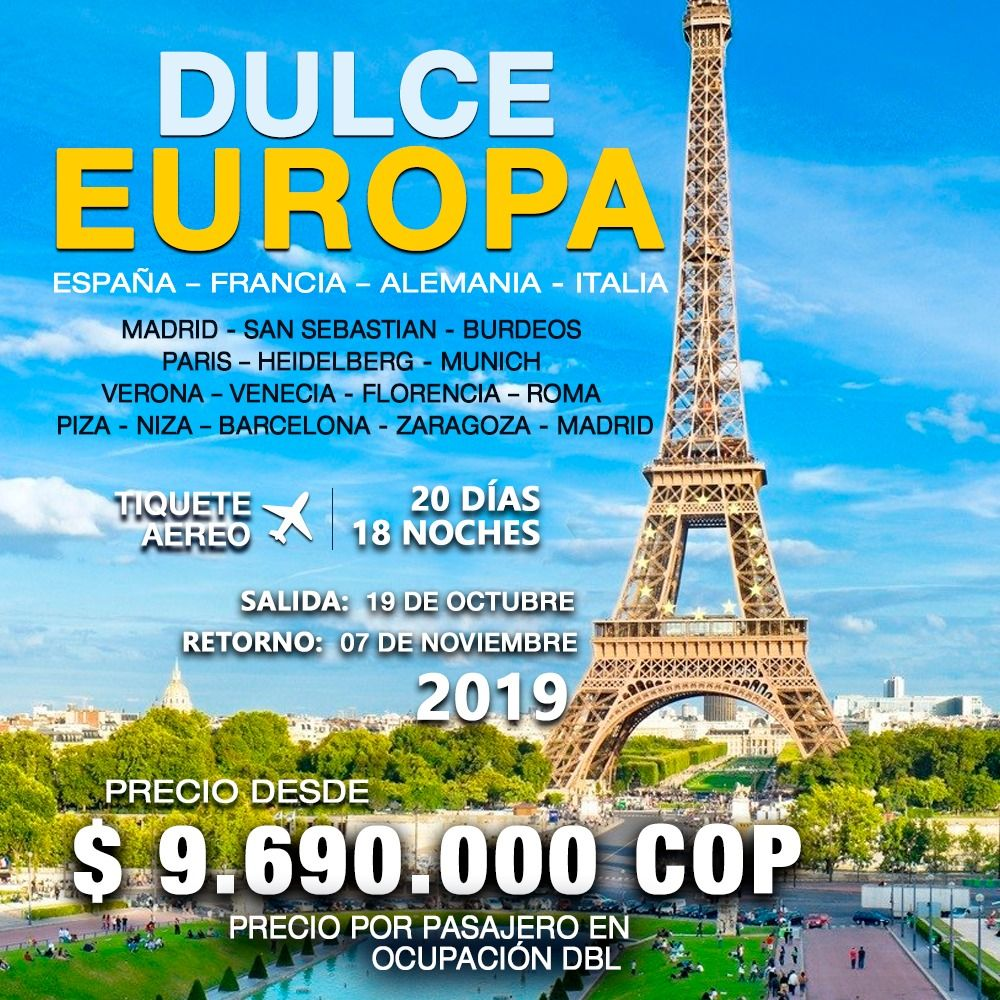 DULCE EUROPA – INCLUYE TIQUETE AÉREO